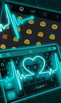 Live Neon Blue Heart Keyboard Theme