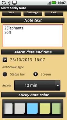 Alarm Sticky Note  reminder
