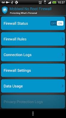 Mobiwol - NoRoot Firewall ScreenShot1
