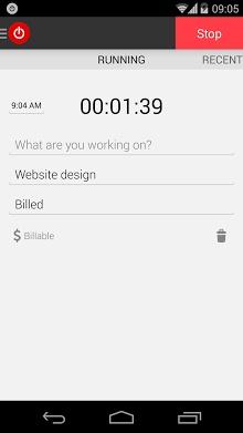 Toggl Time Tracker ScreenShot1