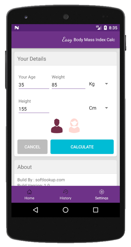 Body Mass Index Calculator by Softlookup.com ScreenShot3