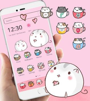 Cute Cup Cat Theme Kitty Wallpaper and icon pack ScreenShot3